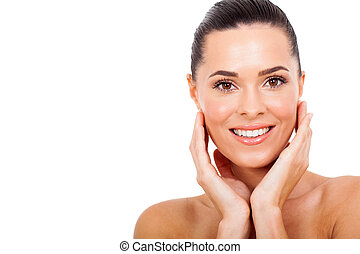 young woman with healthy skin - smiling young woman with...