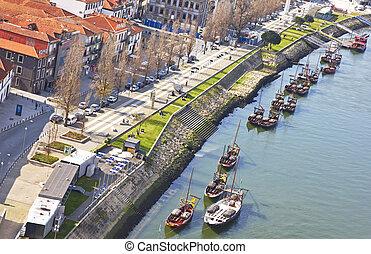 Portugal. Vila Nova de Gaia opposite Porto city. View of...