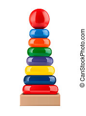 toy pyramid - Children's toy pyramid on white background