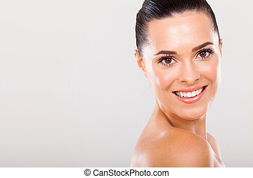 young woman with clear skin - attractive young woman with...