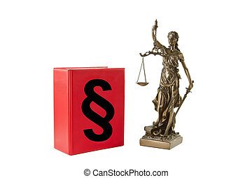 Justice - Book with paragraph sign and Lady Justice isolated...