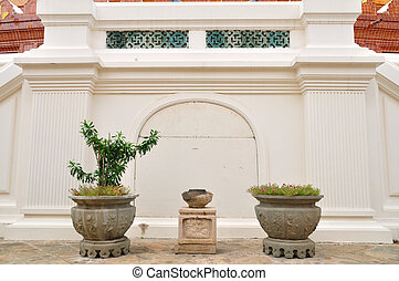 Chinese flowerpots with plants.
