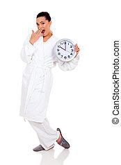 女, パジャマ, 若い, 驚かされる, 時計
