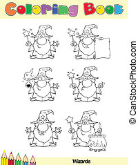 Coloring Book Page Wizard Character - Coloring Book Page...