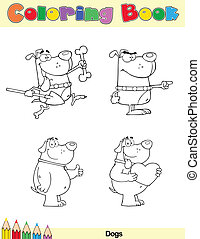 Coloring Book Page Dogs Character 1