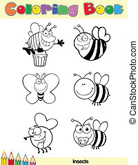 Coloring Book Page Insect Character