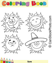 Coloring Book Page Sun Character 2
