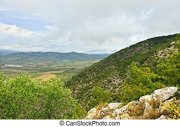 Rural landscape with mountain view in Spain. Sunny day.