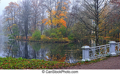Autumn landscape in Catherine park, Pushkin, Russia, View to...