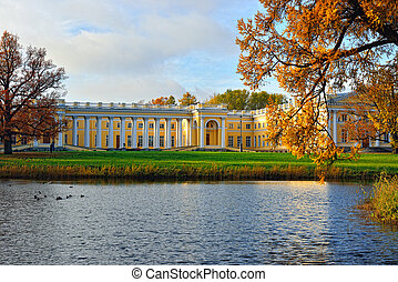 The Alexander palace in Pushkin. Autumn landscape - The...