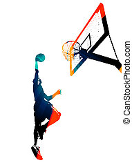 Funky Basketball Slam Dunk - High contrast silhouette...