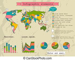 Retro set of infographic elements.