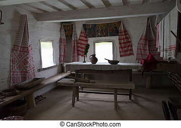 Old times slavonic farmhouse - interior of an old country...