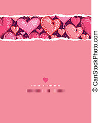 Red Valentine's Day Hearts Vertical Torn Seamless Pattern Background