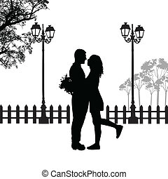 Romantic couple silhouette embrace in love on beautiful...