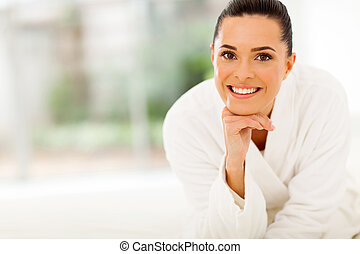 beautiful woman in bathrobe - portrait of beautiful woman in...