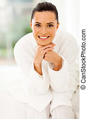 healthy young woman in pajamas