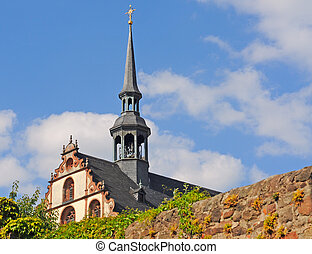 Nunnery in Fulda, Germany - Baroque gable of benedictine...