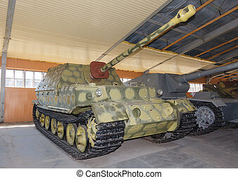 German self-propelled gun Ferdinand in hangar