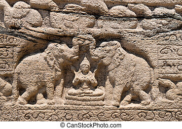 Hindu goddess of prosperity with two elephants - Hindu...