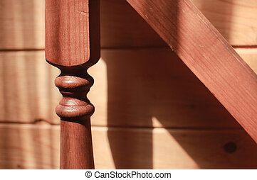baluster wooden staircase, sun shining
