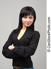 young woman in black blouse