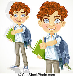 Curly-haired boy with text books