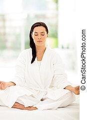 女, 瞑想する, 若い