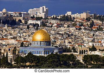 el, santo, ciudad, jerusalén