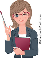 Female lecturer winking with pointer stick.File contains...