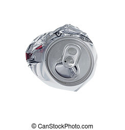 Top view of broken soda can isolated on white background -...