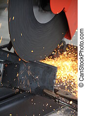 cutting steel with grinder machine close up