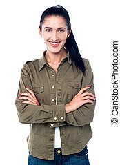 Confident smiling girl in trendy casuals