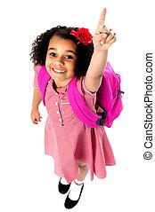 Aerial shot of charming pretty school kid - Cute school girl...