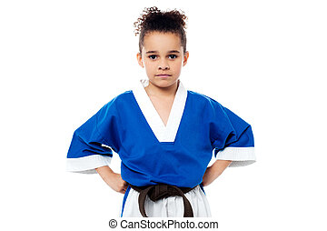 Little girl in a kimono with a black sash - Confident young...