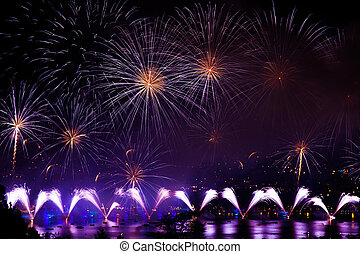 Fireworks over the city of Annecy in France for the Annecy Lake party