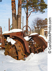tractor in winter
