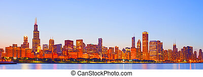 City of Chicago USA, sunset colorful panorama skyline of...