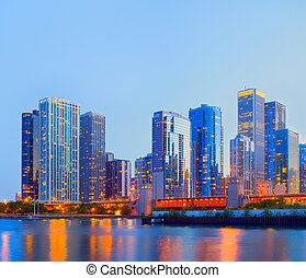 City of Chicago USA, colorful sunset panorama skyline of...