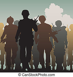 Troops walking - Editable vector silhouettes of armed...
