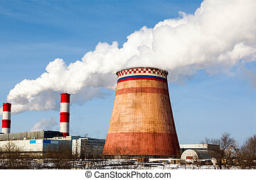 Smoking pipes of thermal power plant