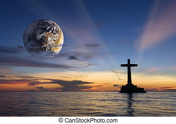 Global religious sunset - Colorful tropical marine sunset...