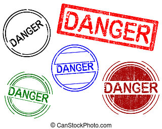 5 Grunge Office Stamps - DANGER - 5 Grunge Office Stamps...