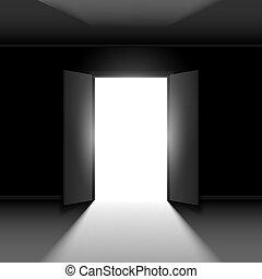 Double open door - Double Open door with light. Illustration...