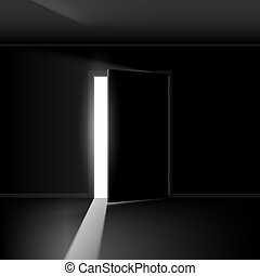 Open door with light. Illustration on empty background