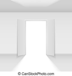Double open door with light. Illustration on empty...