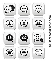 Speech bubble, blog contact buttons - Conversation grey...
