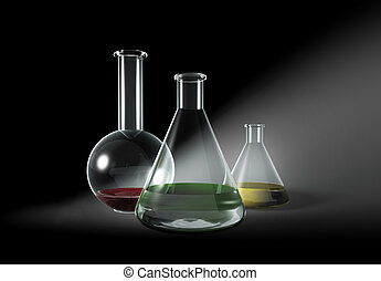 Some transparent glass flasks on grey - Research,...