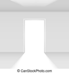 Open door with light Illustration on white for design