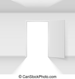 Open door with light. Illustration on white background